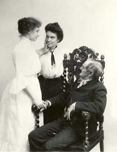 Helen Keller, Anne Sullivan and Joseph Jefferson-1902