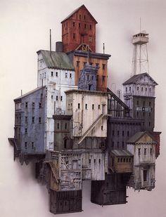 miniaturas: edifícios em madeira