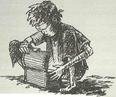 imagem: Peter Nimble, o menino cego, abre a caixa misteriosa