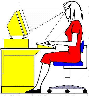Imagem com postura adequada face a um monitor