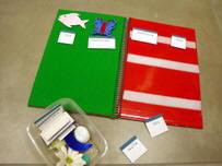 Franelograma cuaderno con objetos y sus correspondientes etiquetas.