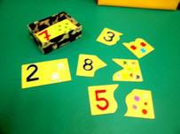 Puzles de números de dos piezas.