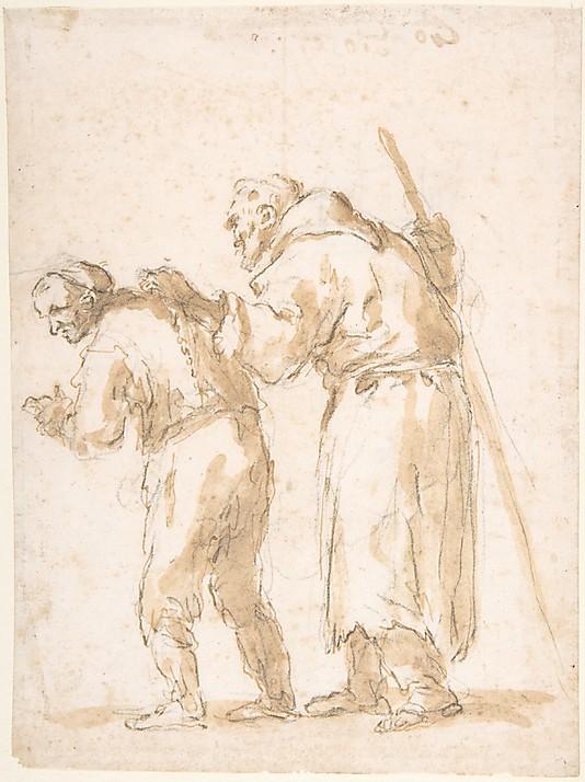 Homem conduzindo um frade cego - José de Ribera, séc. 17