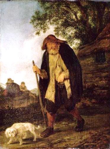 Aveugle et son chien - Isaak van Ostade - óleo sobre madeira, séc. 17 [Louvre]