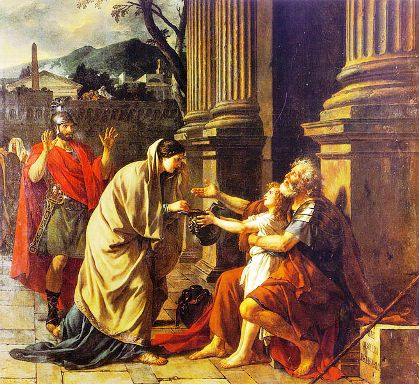 Belisarius asking for alms - Jacques-Louis David, 1781