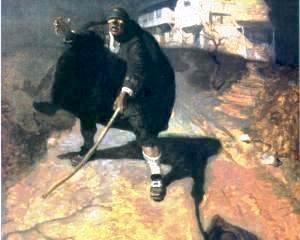 """Blind Pew - ilustração de Newell Convers Wyeth para """"The Treasure Island"""""""