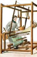 Blindman using a loom - Essai sur l'Instruction des Aveugles - Dr Sebastien Guillie (coloured engraving), 1817