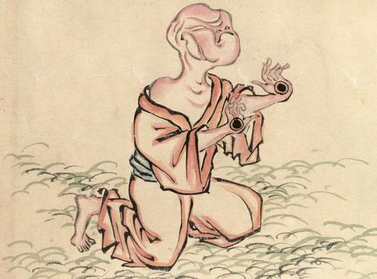 """Teme-Bozu - Oda , 1832 (fantasma de um cego com os olhos nas mãos - do """"Hyakki-Yagyō-Emaki"""""""