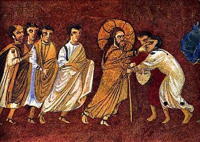 Cristo e os dois cegos - escola bizantina