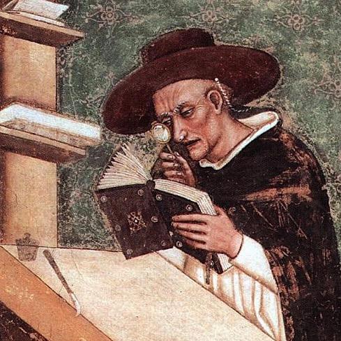 Retrato do Cardeal Nicolas de Freauville - Tommaso da Modena (1.ª representação de uma lente de aumento) - fresco em Treviso, 1352