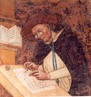 Retrato do Cardeal Ugo di Saint-Cher - Tommaso da Modena - 1.ª representação de óculos - fresco em Treviso, 1352