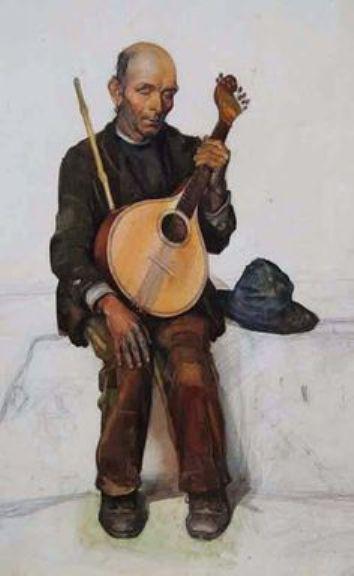 Cego (pormenor) -aguarela-- Jaime Martins Barata (1899-1970)