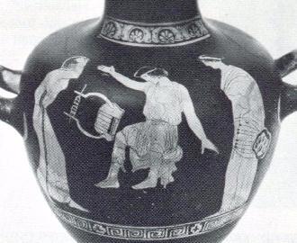 Cerâmica ática: a cegueira de Thamyris - 430 aC [Thamyris gabara-se que era o maior música que alguma vez vivera, mesmo superior às Musas, pelo que elas o cegaram  e fizeram-no esquecer a sua arte.]