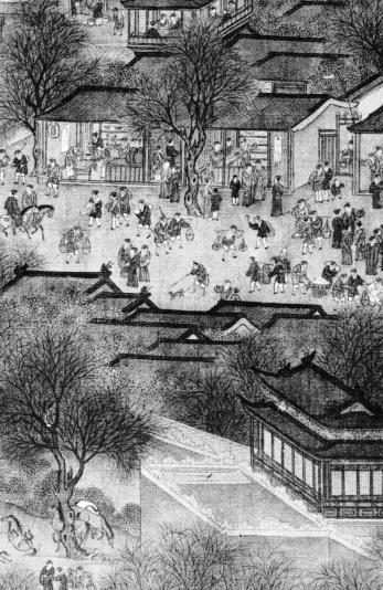 """Cego com cão - detalhe da pintura chinesa """"Primavera no Rio Amarelo"""", séc. XIII [Metropolitan Museum of Art]"""