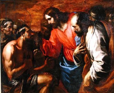 Christ Healing the Blind Man of Jericho-escola italiana-séc. XVII
