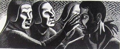 The Country of the Blind - xilogravura de Clifford Webb - versão de 1939