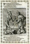 Death: I cut you off from your guide; The blind man responds: I cannot take a step without my dog - Dança Macabra [Xilogravura] - Matthaus Merian, 1649