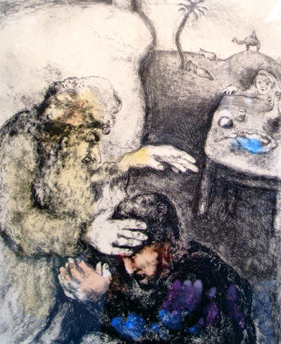 Jacob Being Blessed by Isaac - Marc Chagall