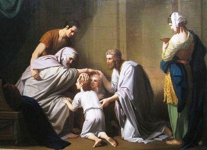 Jacob, cego, no seu leito de morte, cruza as mãos para abençoarEphraim e Manasseh - Benjamin West, 1766