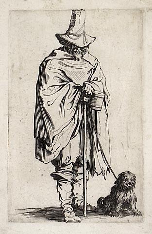 L'aveugle et son chien - Jacques Callot - gravura, 1622