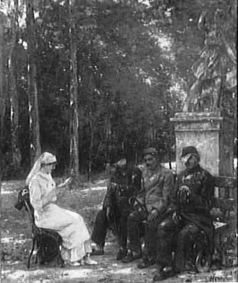 Lecture aux soldats aveugles - Gervex Henri & Vizzavona Antoine, 1916