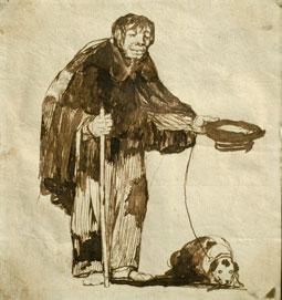 Mendigo ciego con un perro - Goya, aguarela sec.19