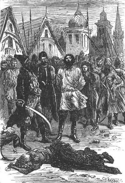 Miguel Strogoff cego - [Júlio Verne] desenho de Jules Férat, 1876