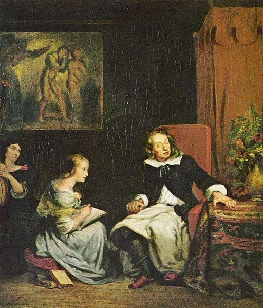 Milton dita o poema Paradise Lost - Eugene Delacroix, 1826