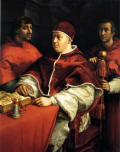 O Papa Leao X usando uma lente de aumento - quadro de Raphael, 1517-1519