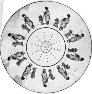 "An early form of ""moving pictures"". The round card was revolved on an axis in front of an opening. French, ca 1850"