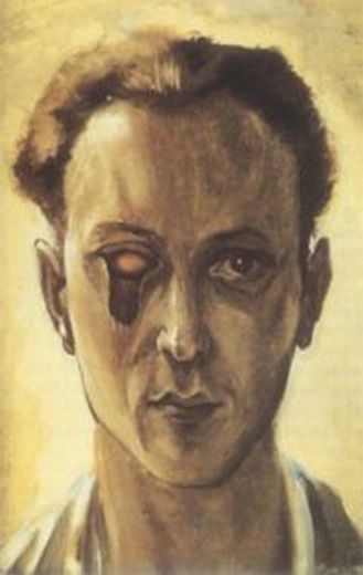 Auto-retrato premonitório (com olho vazado) de Victor Brauner, 1931