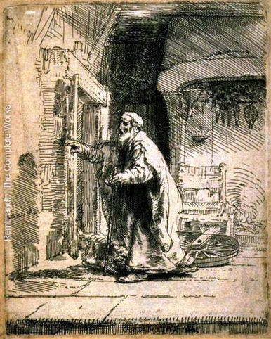 The blind Tobit - Rembrandt, 1651