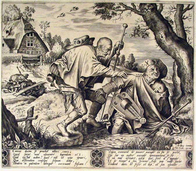 The blind leading the blind - after Hieronymus Bosch  - Pieter van der Heyden, c.1561