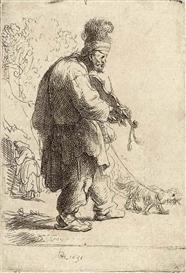The blind fiddler - Rembrandt, 1631