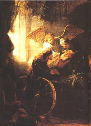 Tobie guérissant son père de la cécite - Rembrandt, 1636