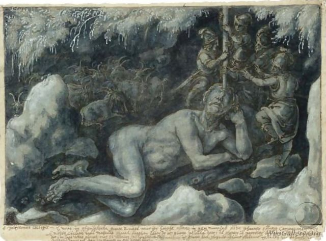 Ulysses And His Companions Blinding The Sleeping Cyclops Polyphemus - Jan van der Straet