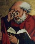 Apóstolo Pedro (c/óculos)- Friedrich Herlin, 1466 [Igreja St. Jakob, Rothenburg]