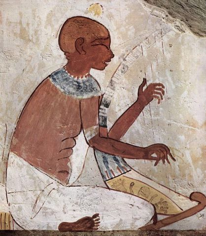 Blind musician playing a harp, from the tomb of the ancient Egyptian scribe called Nakht - 1422-1411 BC