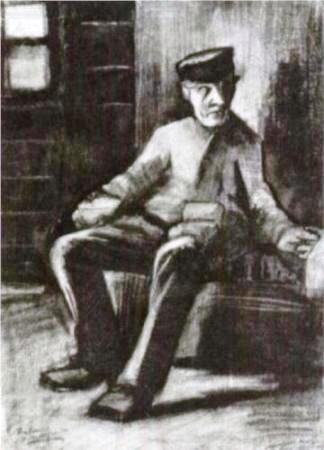 Blind man sitting in interior - pencil - Van Gogh