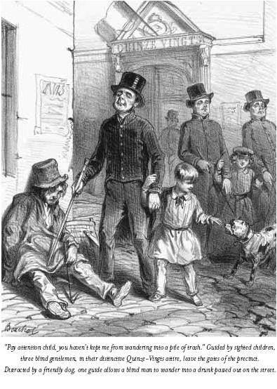 """""""Pay attention child, you haven't kept me from wandering into a pile of trash"""". Guided by sighted children, three blind gentlemen, in their distinctive Quinze-Vingts attire, leave the gates of the precinct. Distracted by a friendly dog, one guide allows a blind man to wander into a drunk passed out on the street."""