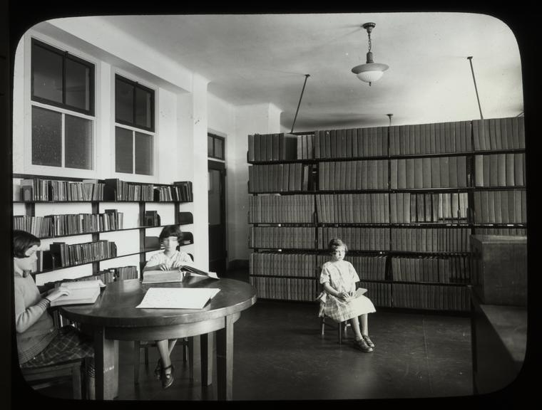 Girls reading at New York Institute for the Blind, 1926