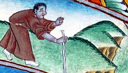 Um velho cego - tacteando o caminho com o seu bordão bengala - é a imagem representativa da Ignorância na Roda da Vida budista.
