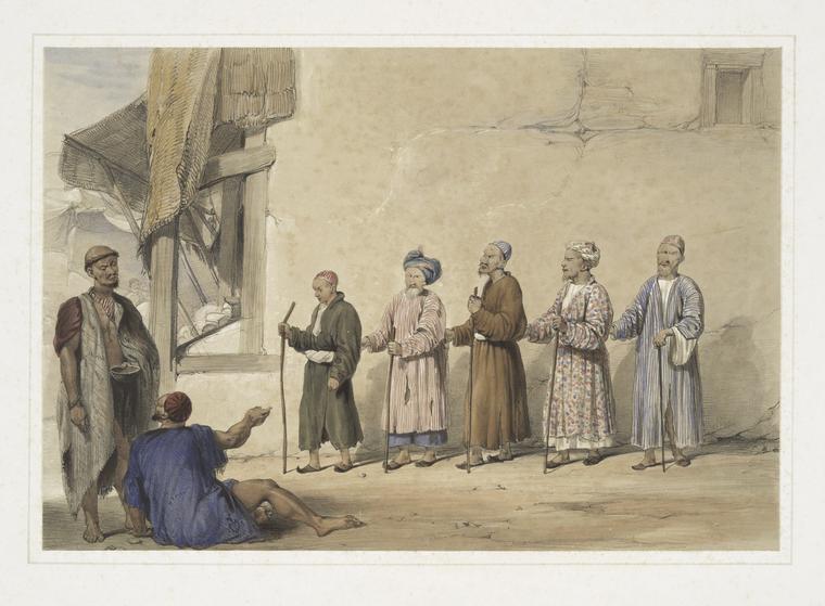 Kuttar ou fila de mendigos cegos - Cabul (aguarela)