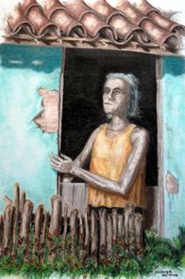 Velha cega - quadro de Marcos Bandeira