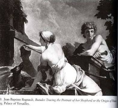 Butades Tracing the Portrait of Her Shepherd or The Origin of Drawing - Jean-Baptiste Regnault  - Palace of Versailles